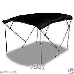 Bimini 4 Bow Top Boat Cover Black 96L 54H 79-84W Rear Support Poles