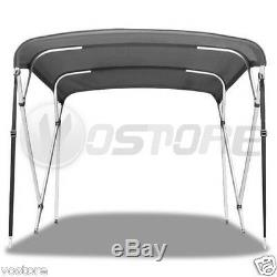 Bimini 4 Bow Top Boat Cover Gray 96L 54H 61-66 With Rear Support Poles