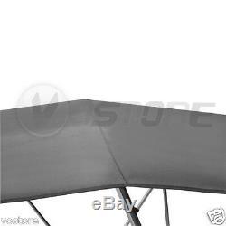 Bimini 4 Bow Top Boat Cover Gray 96L 54H 67-72W Rear Support Poles