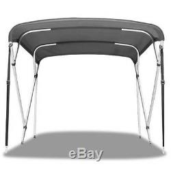 Bimini 4 Bow Top Boat Cover Light Grey 79-84 With Rear Poles Integrated Sock