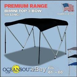 Bimini Top 3 Bow 61- 66 Wide 6ft Long Black PREMIUM RANGE With Rear Poles