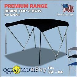 Bimini Top 3 Bow 79- 84 Wide 6ft Long Black PREMIUM RANGE With Rear Poles
