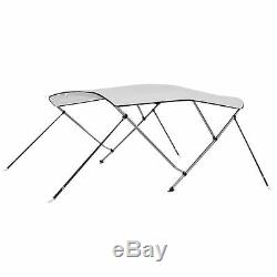 Bimini Top 3 Bow Boat Cover Polyester Canopy Shade 55 Height 63 Width White