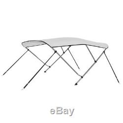 Bimini Top 3 Bow Boat Cover Polyester Canopy Shade 55 Height 71 Width White