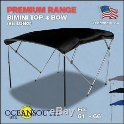Bimini Top 4 Bow 61- 66 Wide 8ft Long Black PREMIUM RANGE With Rear Poles