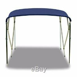 Bimini Top 4 Bow 61- 66 Wide 8ft Long Blue PREMIUM RANGE With Rear Poles