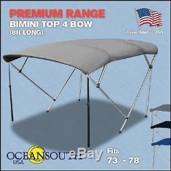 Bimini Top 4 Bow 73-78 Wide 8ft Long Grey PREMIUM RANGE With Rear Poles