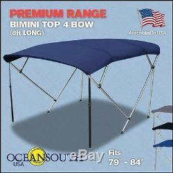 Bimini Top 4 Bow 79-84 Wide 8ft Long Blue PREMIUM RANGE With Rear Poles