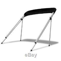 Bimini Top 4 Bow 85-90 Wide 8ft Long Black PREMIUM RANGE With Rear Poles