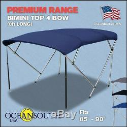 Bimini Top 4 Bow 85-90 Wide 8ft Long Blue PREMIUM RANGE With Rear Poles