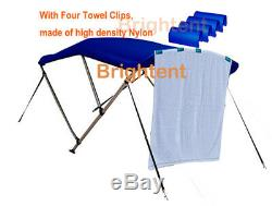Bimini Top 61''-66'' Free Clips 3 Bow Boat Canopy Cover 6 ft Support Poles GB3N1