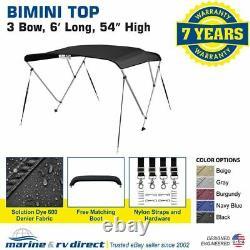 Bimini Top Boat Cover 3 Bow 54H x 67-72 W 6' Long Solution Dye Black