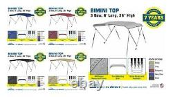 Bimini Top Boat Cover 3 Bow 6ft. Long 36 & 54 High Solution Dye Fabric/Canvas
