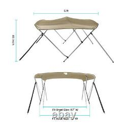 Bimini Top Boat Cover 3 Bow 6ft. Long 46 High 67-72 withRear Support Poles Beige