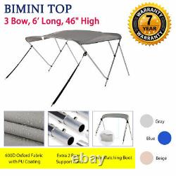 Bimini Top Boat Cover 3 Bow 6ft. Long 46 High 67-72 withRear Support Poles Gray