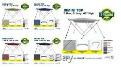 Bimini Top Boat Cover 3 Bow 6ft. Long 46 High Solution Dye Fabric/Canvas