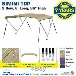 Bimini Top Boat Cover 36 High 3 Bow 6' ft. L x 67 72 W BEIGE