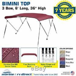 Bimini Top Boat Cover 36 High 3 Bow 6' ft. L x 67 72 W BURGUNDY