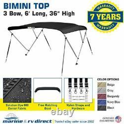 Bimini Top Boat Cover 36 High 3 Bow 6' ft. L x 73 78 W SOLUTION DYE BLACK