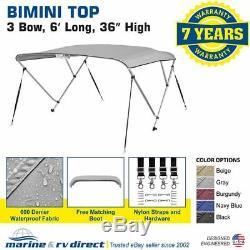 Bimini Top Boat Cover 36 High 3 Bow 6' ft. L x 79 84 W GRAY