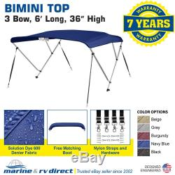 Bimini Top Boat Cover 36 High 3 Bow 6' ft. L x 79 84 W NAVY BLUE