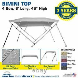 Bimini Top Boat Cover 4 Bow 46 H 73 78 W High Solution Gray 8 Foot Long