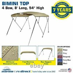 Bimini Top Boat Cover 4 Bow 54 H 67 72 W 8' Long Solution Dye 600D Beige