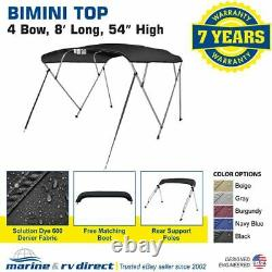 Bimini Top Boat Cover 4 Bow 54 H 79 84 W 8' Long Solution Dye 600D Black