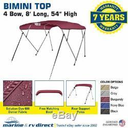 Bimini Top Boat Cover 4 Bow 54 H 79 84 W 8 ft. L. Solution Dye Burgundy
