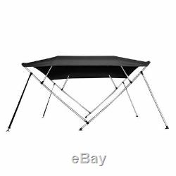 Bimini Top Boat Cover 4 Bow 54 H 85 90 W 8' Long Solution Dye 600D Black