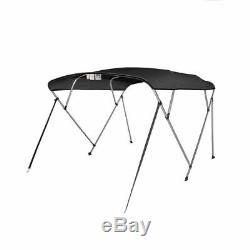 Bimini Top Boat Cover 4 Bow 54 H 91 96 W 8 ft. Long Solution Dye 600D Black