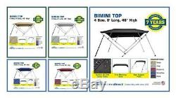 Bimini Top Boat Cover 4 Bow 8ft. Long 46 & 54 High Solution Dye Fabric/Canvas