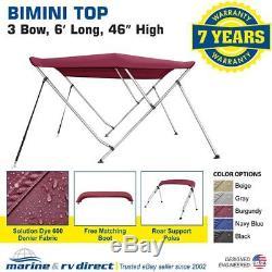 Bimini Top Boat Cover 46 High 3 Bow 6' ft. L x 67 72 W Burgundy