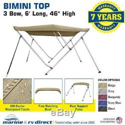 Bimini Top Boat Cover 46 High 3 Bow 6' ft. L x 73 78 W BEIGE With Rear Pole