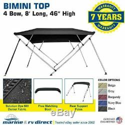 Bimini Top Boat Cover 46 High 3 Bow 79-84 Wide 6' L Solution Dye BLACK