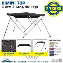 Bimini Top Boat Cover 46 High 67-72 Wide 6' L Solution Dye 600 Denier BLACK