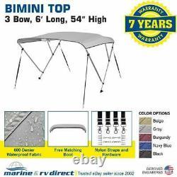 Bimini Top Boat Cover 54 H X 67-72 W 6' Long 3 Bow Gray