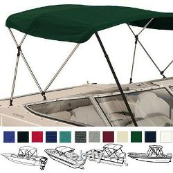 Bimini Top Boat Cover Green 3 Bow 72L 36H 91-96W With Boot and Rear Poles