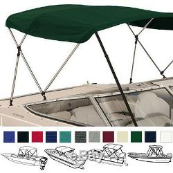 Bimini Top Boat Cover Green 3 Bow 72L 54H 85-90W With Boot and Rear Poles