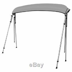 Bimini Top Boat Cover New 54 High 4 Bow 8' ft. L x 73-78 W Gray With Rear Poles