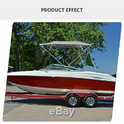 Bimini Top Boat Cover New 54 High 4 Bow 8' ft. L x 79-84 W Gray With Rear Poles