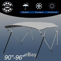 Bimini Top Boat Cover New 54 High 4 Bow 8' ft. L x 90-96 W Gray With Rear Poles
