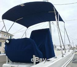 Bimini Top Canvas Cover Stainless Steel Hardware Center Console 17-20 foot Boat