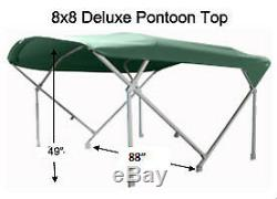 Black Deluxe 1 1/4 frame 8' Pontoon Boat (Bimini) top OEM Grade Black