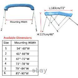 Boat BIMINI TOP 3 Bow Canopy Cover 54 90 W 6 ft w Rear Poles & Storage