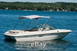 Boat Bimini Top Cover 46H x 6' L x 54-60W (Blue), Zippered Boot/Hardware