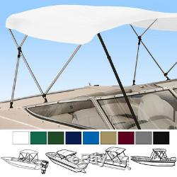 Boat bimini top 4 Bow 96L 54H 79-84W set With boot Rear support poles