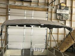 Complete Pontoon Boat Square Tube Bimini Top Kit 10'x8' Grey, Lifetime Warranty