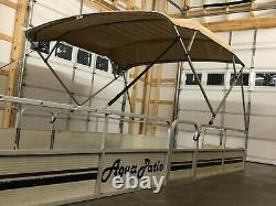 Complete Pontoon Boat Square Tube Bimini Top Kit 8'x8' Beige, Lifetime Warranty