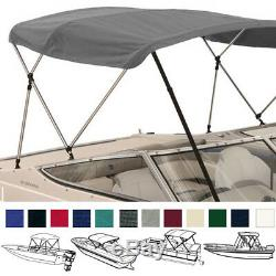 Deluxe 4 Bow Bimini Top Boat Cover Set with Boot and Rear Support Poles